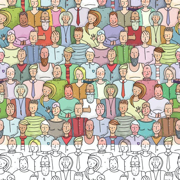 Smiling People Crowd Collective Portrait Seamless