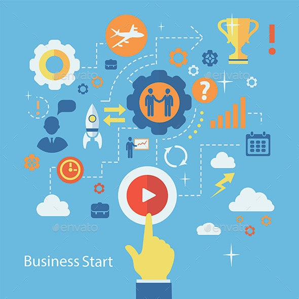 Business start Infographics Template - Concepts Business