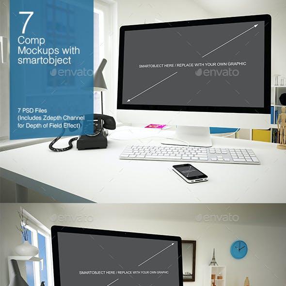 Computer Mockup 7 Poses