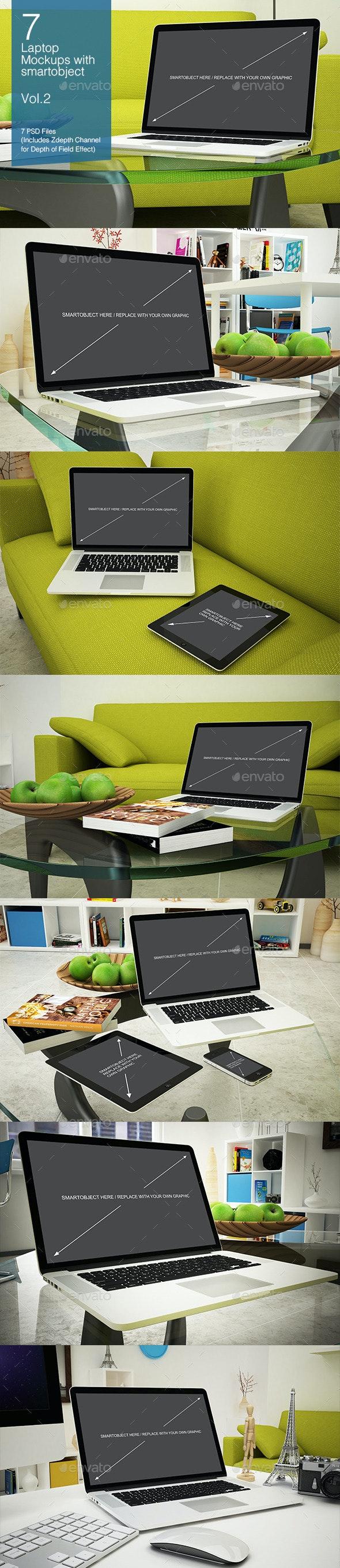 Laptop Mockup 7 Poses - Vol.2 - Laptop Displays