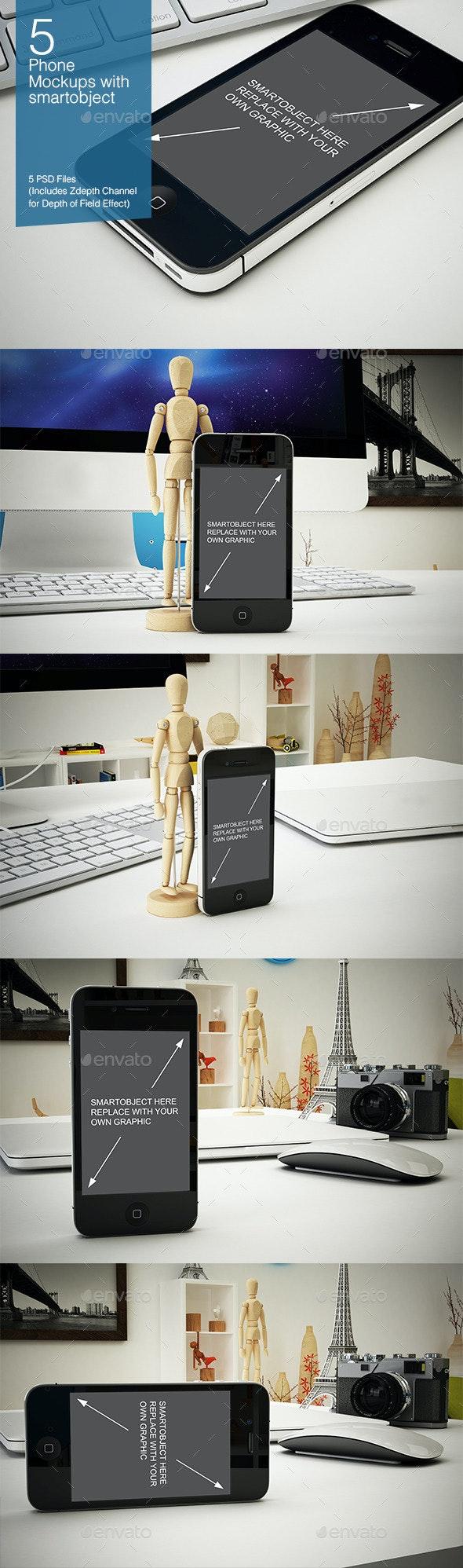 Phone Mockup 5 Poses - Mobile Displays