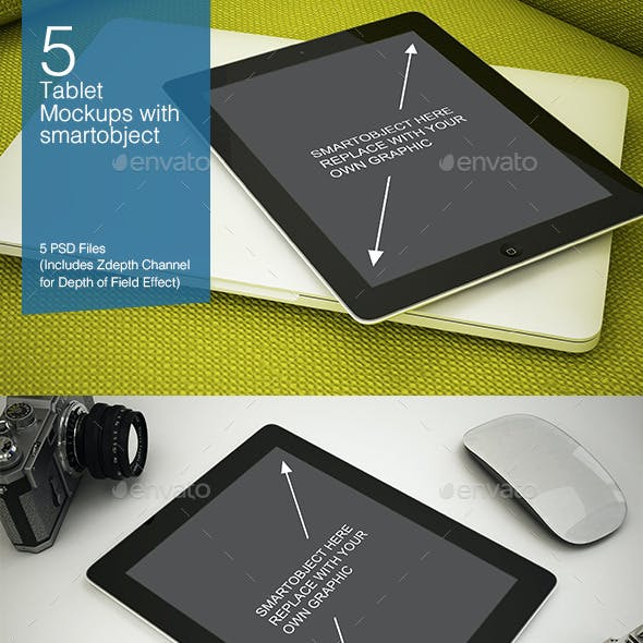 Tablet Mockup 5 Poses