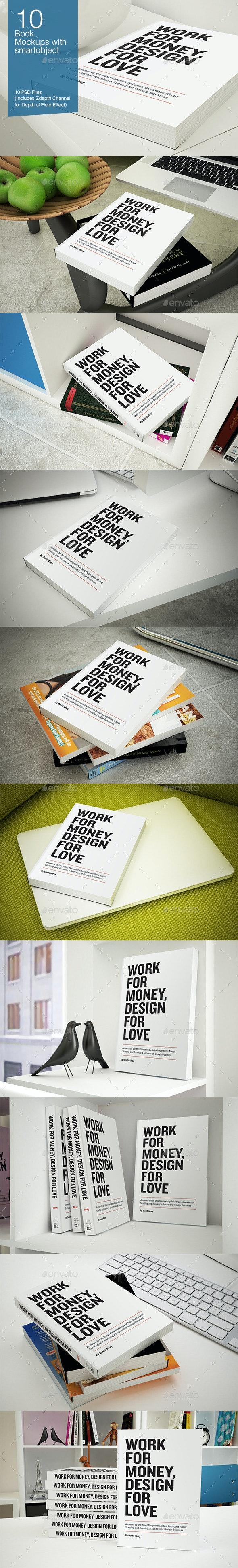 Book Mockup - 10 poses - Books Print