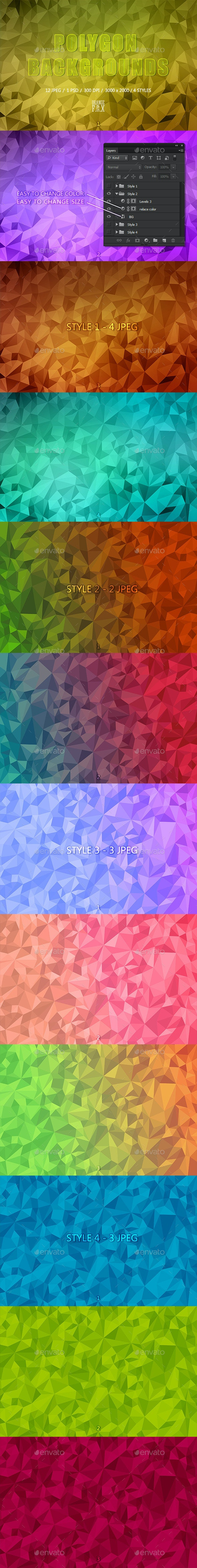 12 Polygon Backgrounds - 4 Styles - Abstract Backgrounds