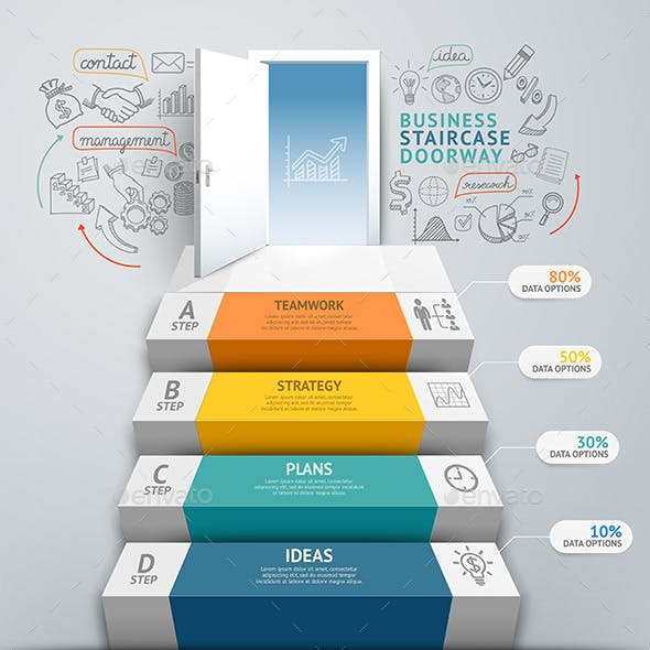 Business Staircase Doorway Conceptual Infographics