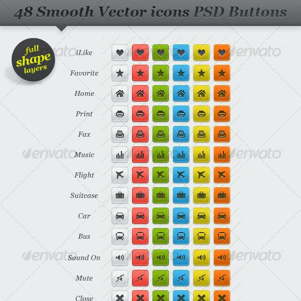 Web Buttons Collection with Resizable Vector Icons
