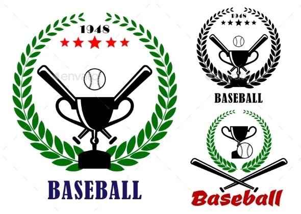 Baseball Badges or Emblems - Sports/Activity Conceptual