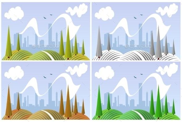 Landscape in Four Seasons - Seasons Nature