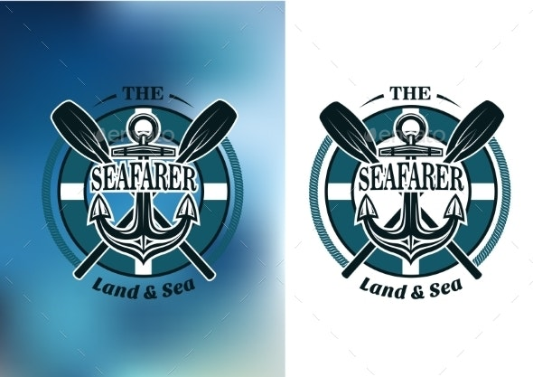 Seafarer Badges with Crossed Oars - Travel Conceptual