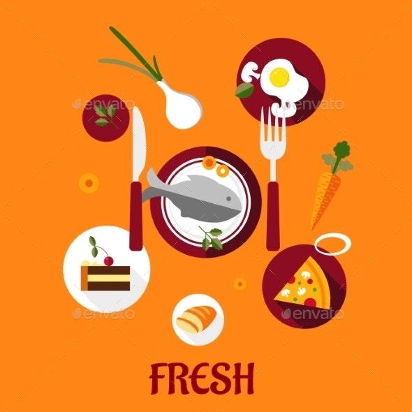 Fresh Food Flat Design - Food Objects
