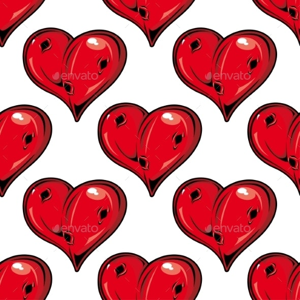 Red Valentines Hearts Seamless Pattern - Backgrounds Decorative