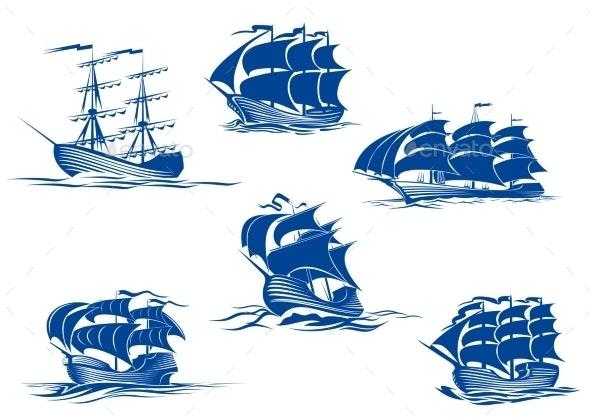 Blue Ships or Sailing Ships - Travel Conceptual