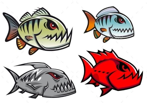 Cartoon Piranha Fish  - Animals Characters