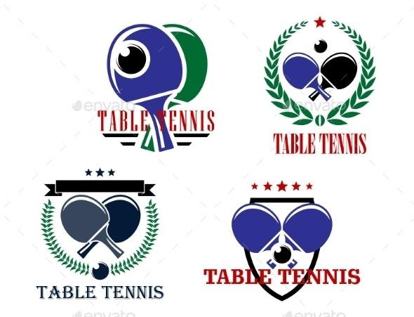Table Tennis Emblems - Sports/Activity Conceptual