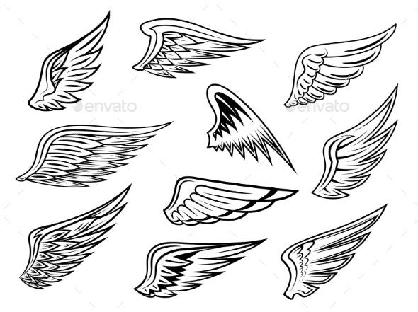Heraldic Wings Set - Tattoos Vectors