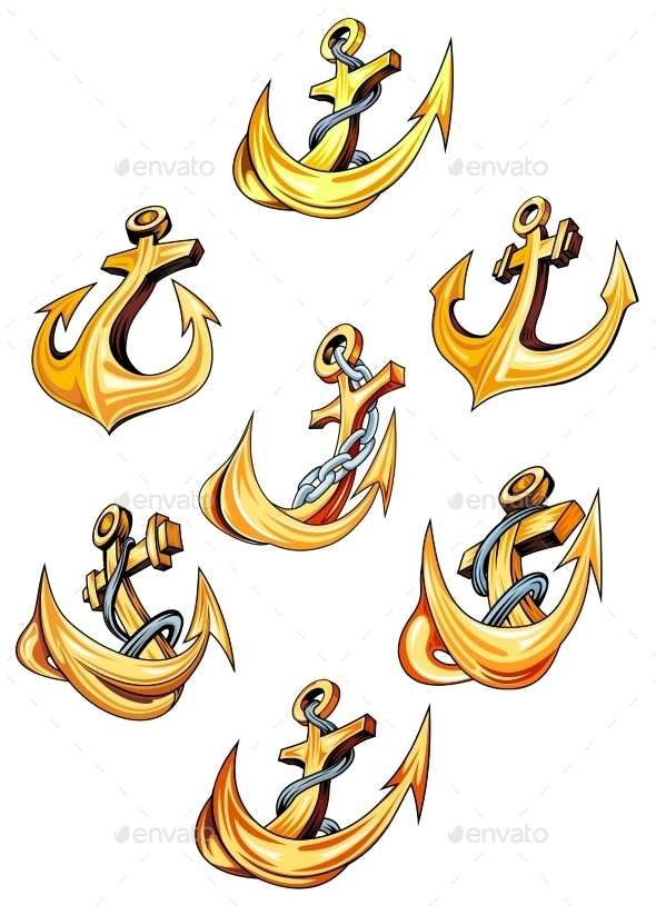 Swirling Gold Ships Anchors - Man-made Objects Objects