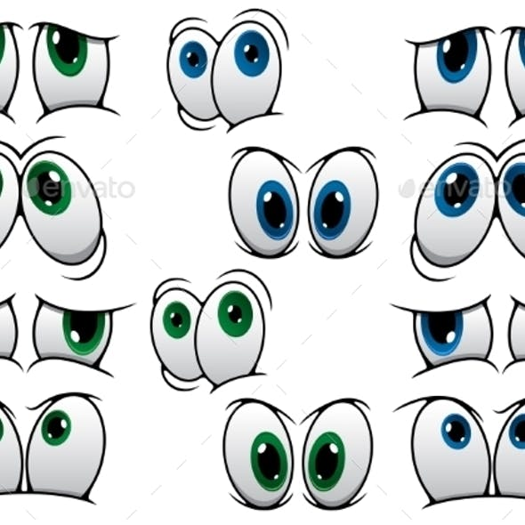 Blue and Green Cartoon Eyes