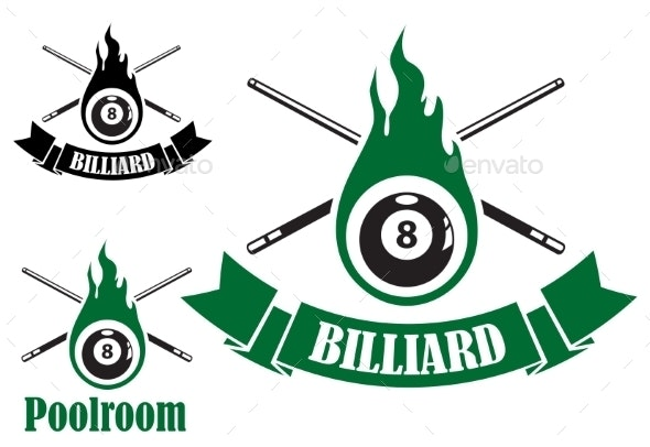Billiard Icons with Crossed Cues - Sports/Activity Conceptual