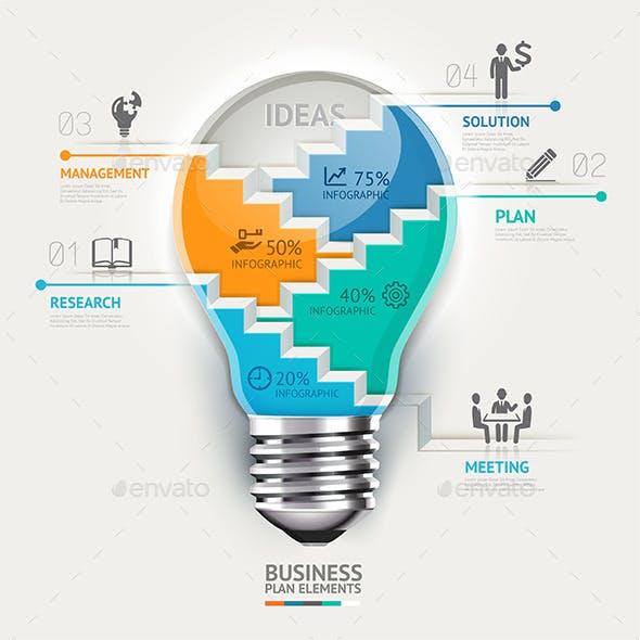 Business Lightbulb Infographics Template.