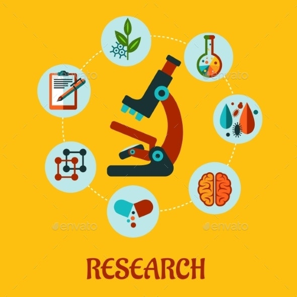 Research Flat Infographic - Health/Medicine Conceptual