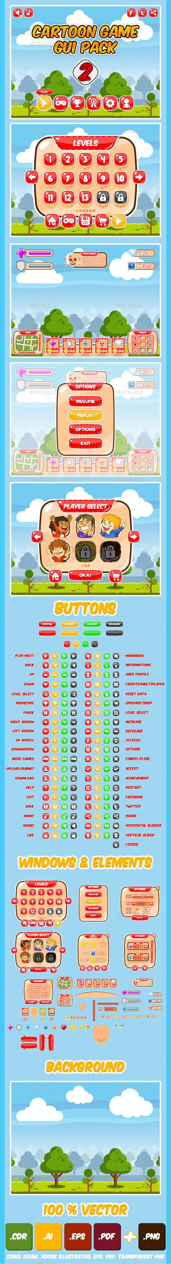 Kids Game UI Kit Pack 2 by CreationArchive   GraphicRiver