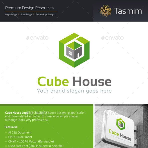 Cube House Logo Template