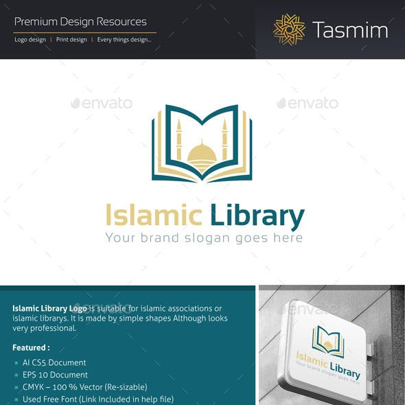 Islamic Library Logo Template
