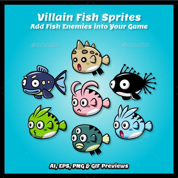 7 Villains Fish Sprite Sheets