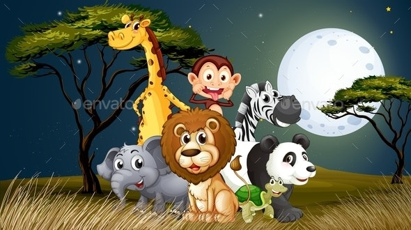 Animals in Moonlight Landscape - Animals Characters