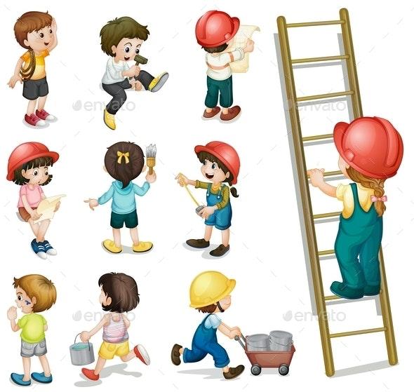 Kids Working - People Characters