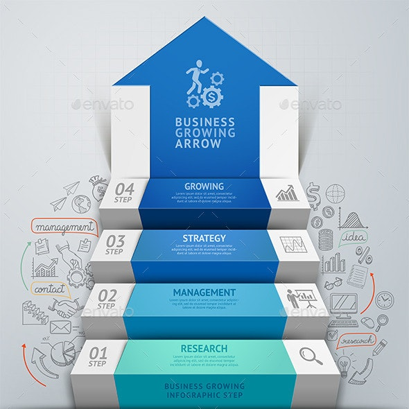 Business Arrow Step Staircase Infographics - Infographics