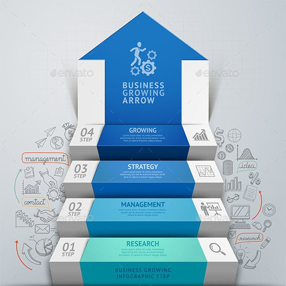Business Arrow Step Staircase Infographics