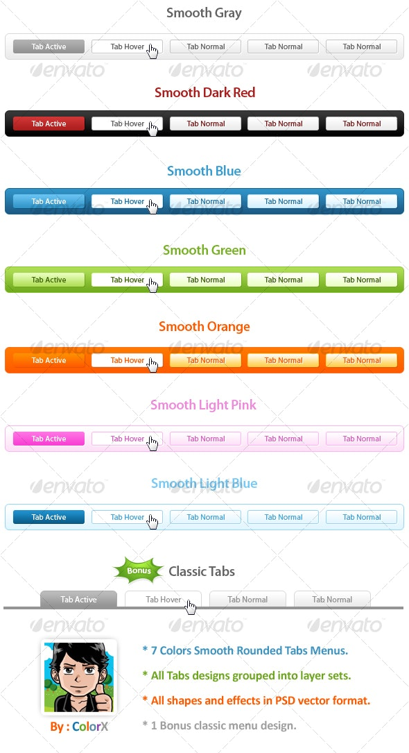 7 Colors Smooth Rounded Tabs Menu Designs - Miscellaneous Web Elements