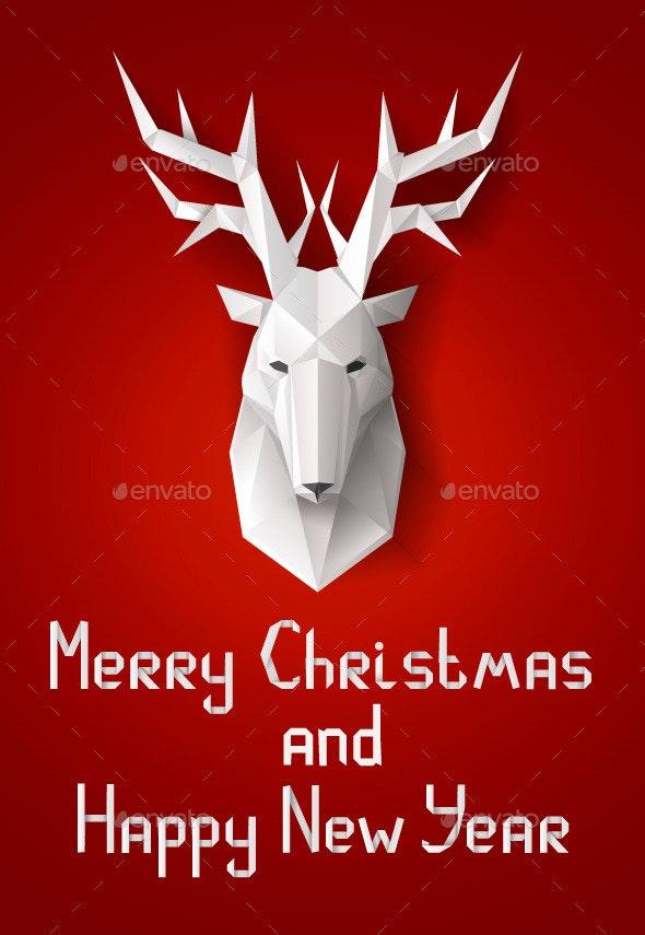 Greeting Card with Deer - Christmas Seasons/Holidays