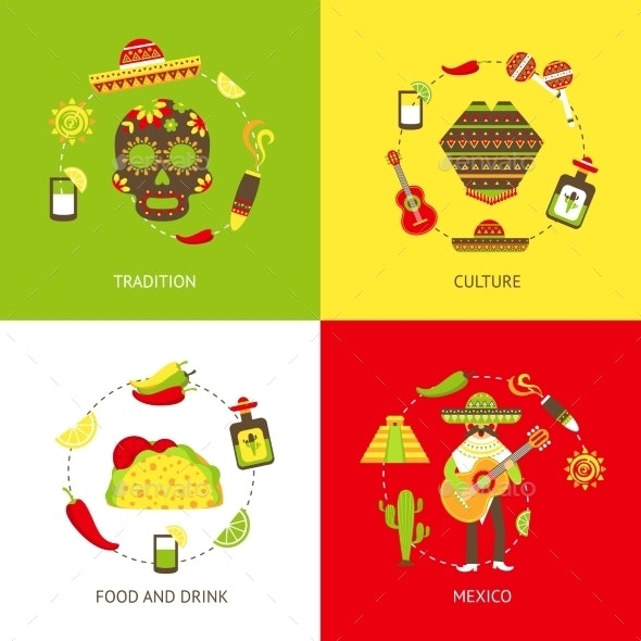 Mexico Flat Icons Set - Travel Conceptual