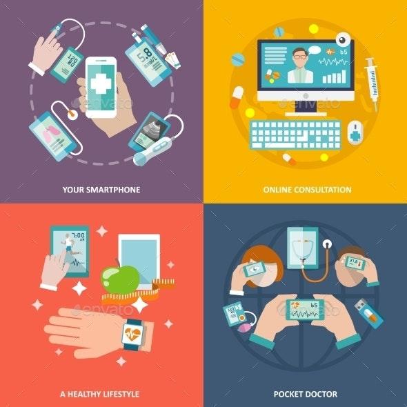 Digital Health Icons Set Flat - Health/Medicine Conceptual