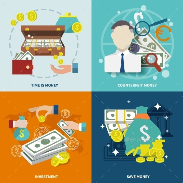 Money Icon Flat - Concepts Business