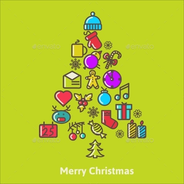 Christmas Tree Made of Xmas Icons and Elements - Christmas Seasons/Holidays