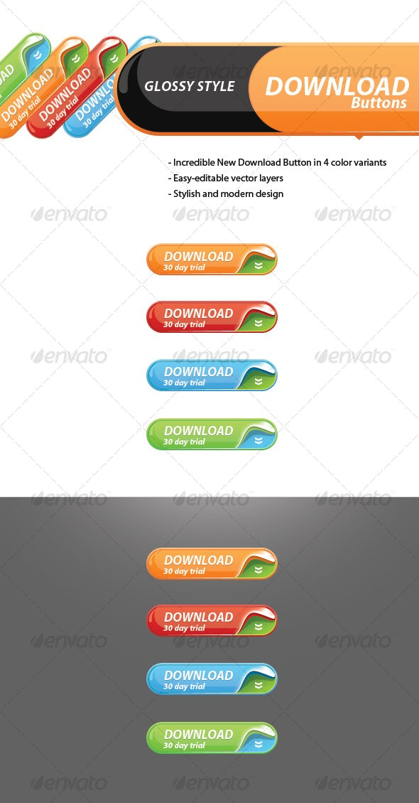 New Glossy Download Button - Buttons Web Elements