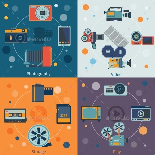 Photo Video Icons Flat - Media Technology