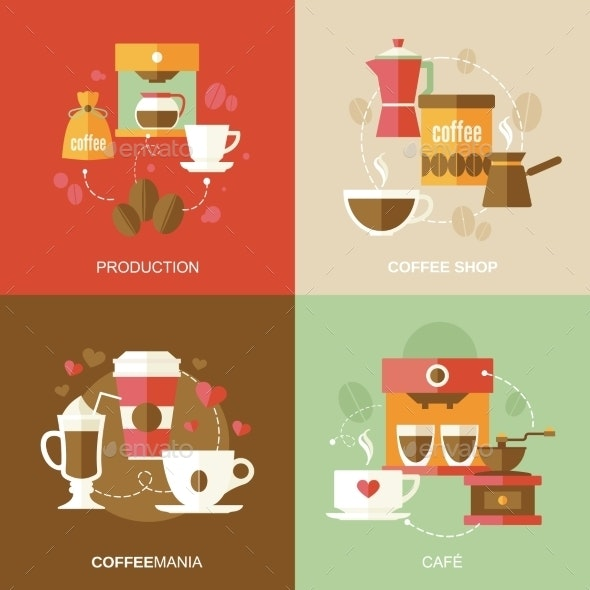 Coffee Icons Flat - Concepts Business