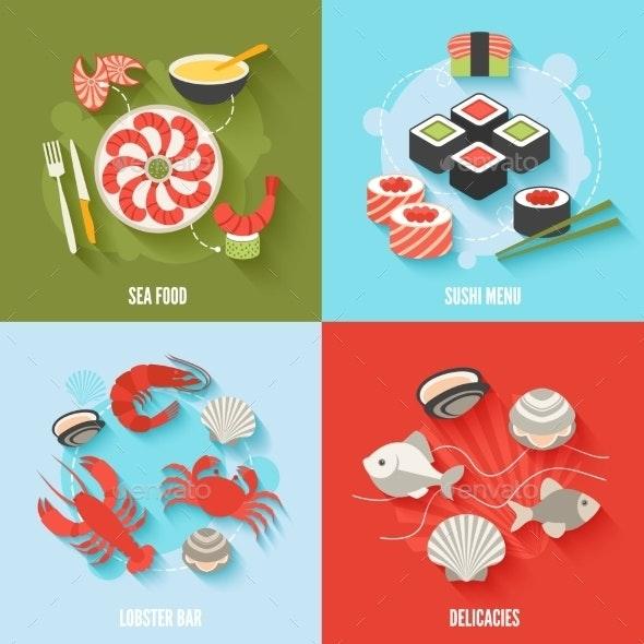Seafood Flat Set - Food Objects