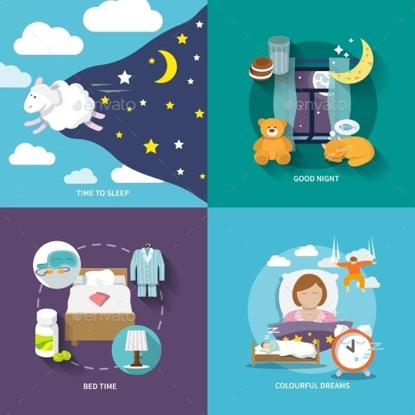 Sleep Time Icons Flat - Decorative Vectors