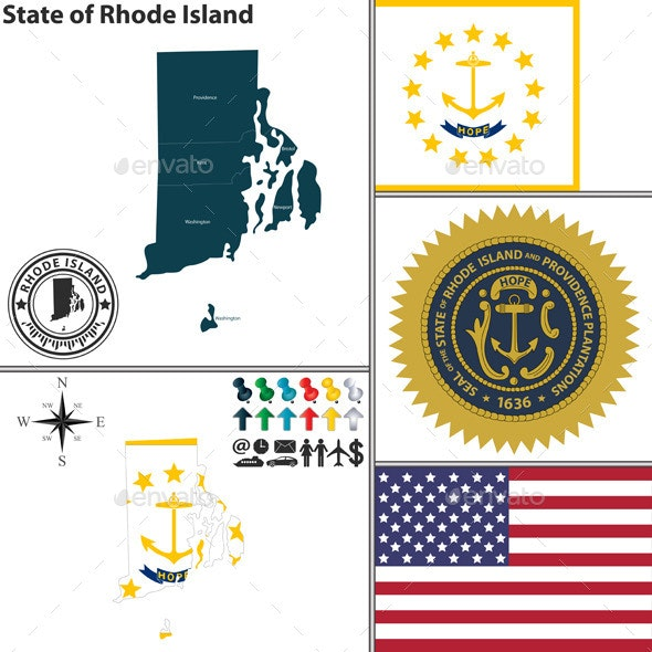 Map of State Rhode Island, USA - Travel Conceptual