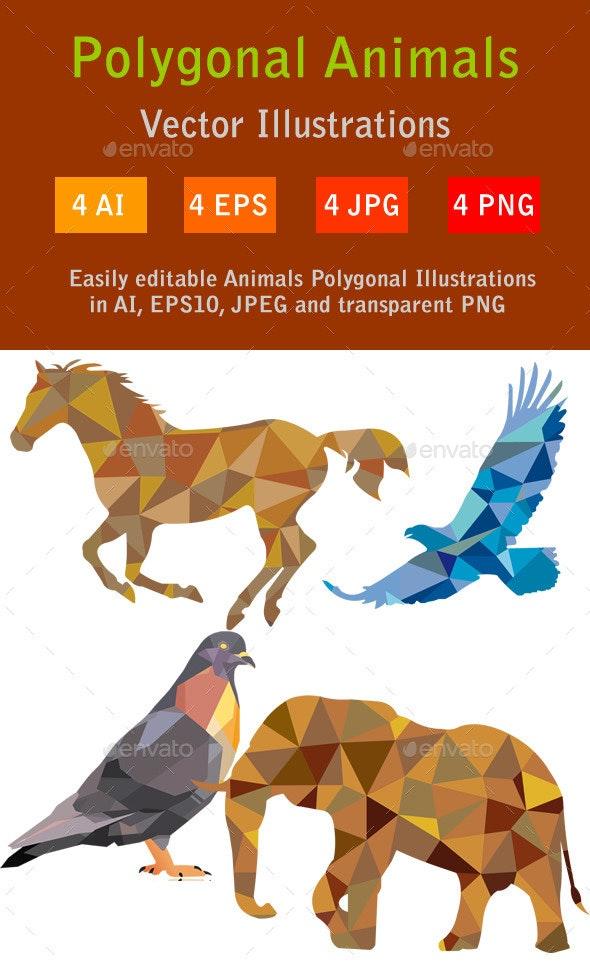 Animals Polygonal Illustrations - Animals Characters
