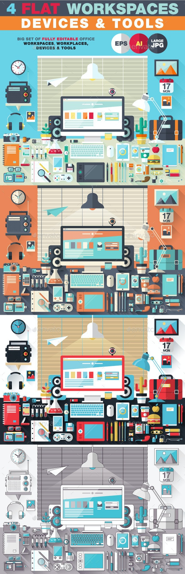 Flat Office Devices and Tools - Objects Vectors