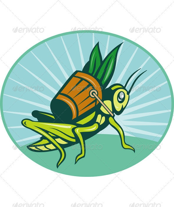 Grasshopper Carrying Basket Of Grass Blade - Animals Characters