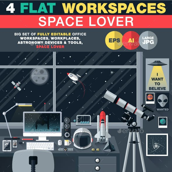 Space Lover Flat Workspace