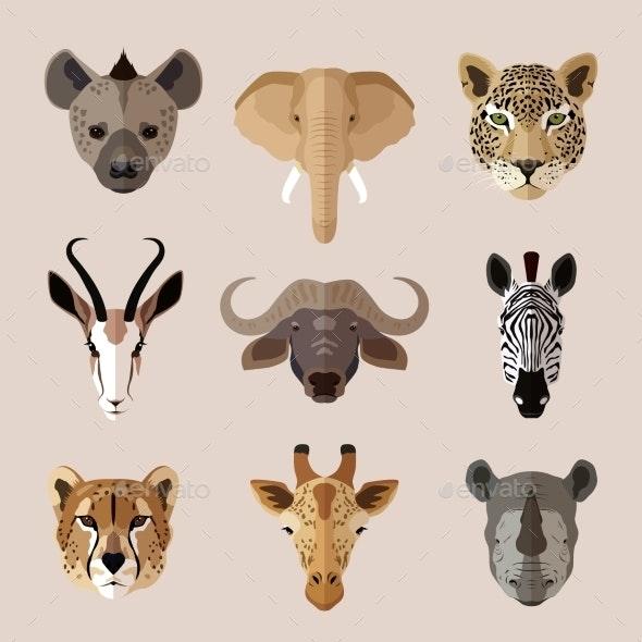 Animal Portrait Flat Icon Set - Animals Characters