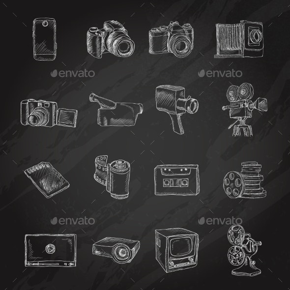Photo Video Icons Chalkboard - Media Technology